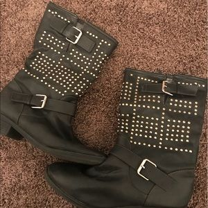 Just fab boots, rose gold studded